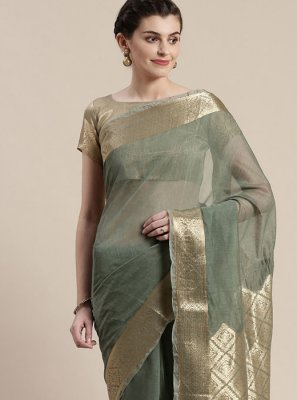 Linen Grey Woven Classic Designer Saree