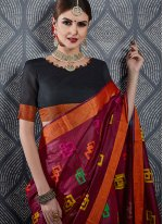 Linen Maroon Traditional Saree