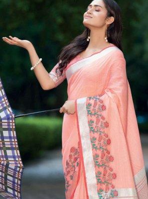 Linen Mehndi Classic Saree