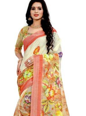 Linen Off White Classic Designer Saree