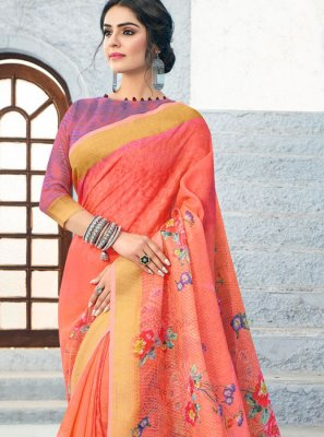 Linen Orange Casual Saree