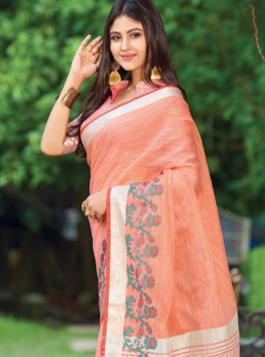 Linen Orange Classic Saree