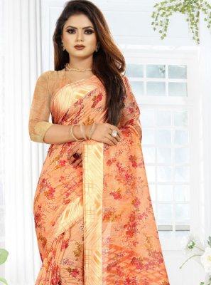 Linen Orange Printed Saree