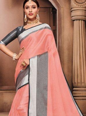 Linen Peach Classic Designer Saree