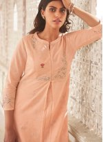 Linen Peach Embroidered Party Wear Kurti