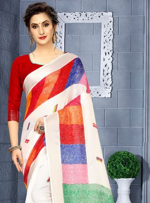 Linen Printed Casual Saree