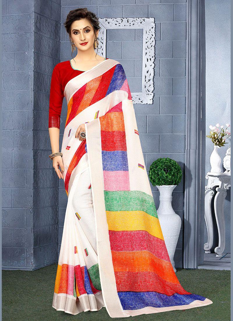 Linen Printed Casual Saree
