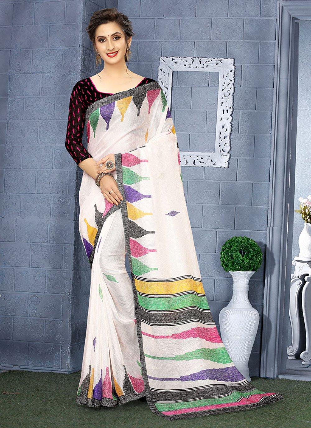Linen Printed Casual Saree in Multi Colour and White