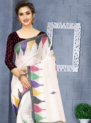 Linen Printed Casual Saree in Multi Colour and White