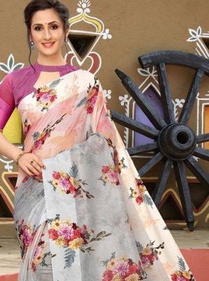 Linen Printed Classic Saree