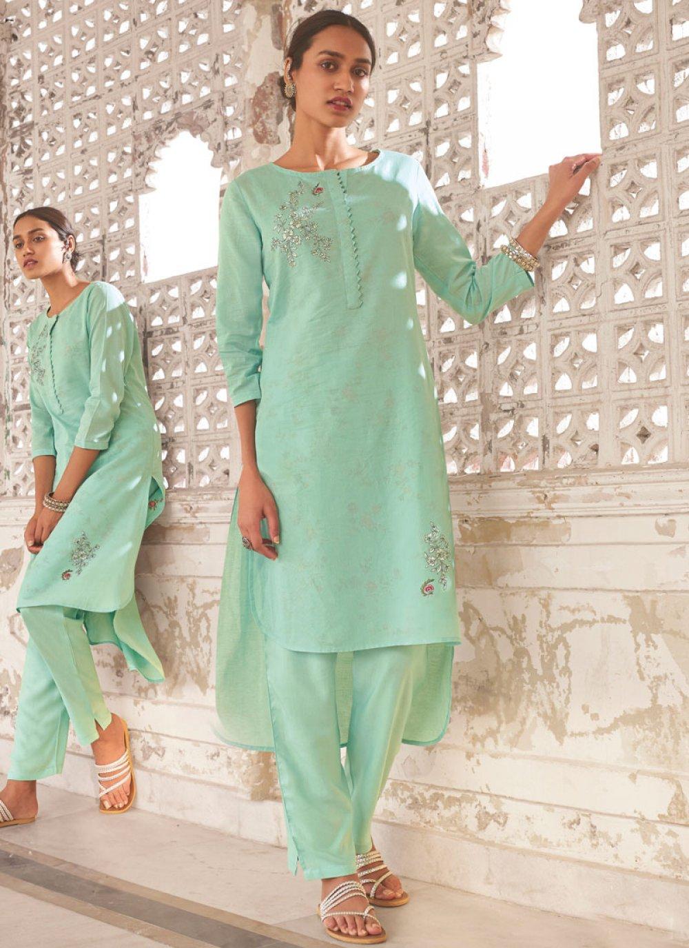 Linen Printed Designer Kurti in Sea Green