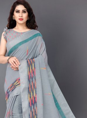 Linen Printed Grey Casual Saree