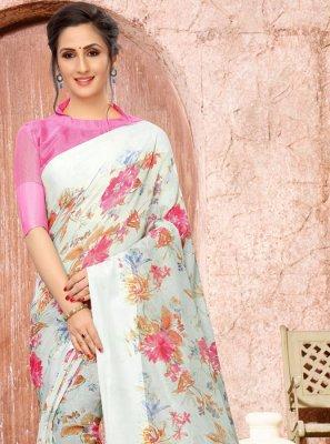 Linen Printed Off White Classic Designer Saree