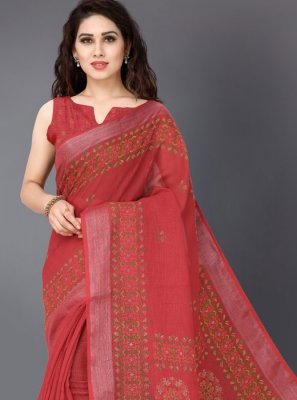 Linen Printed Red Printed Saree