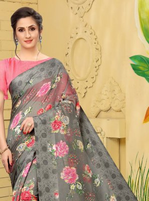 Linen Printed Trendy Saree in Grey