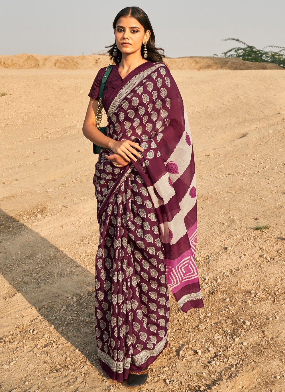 Linen Printed Wine Casual Saree