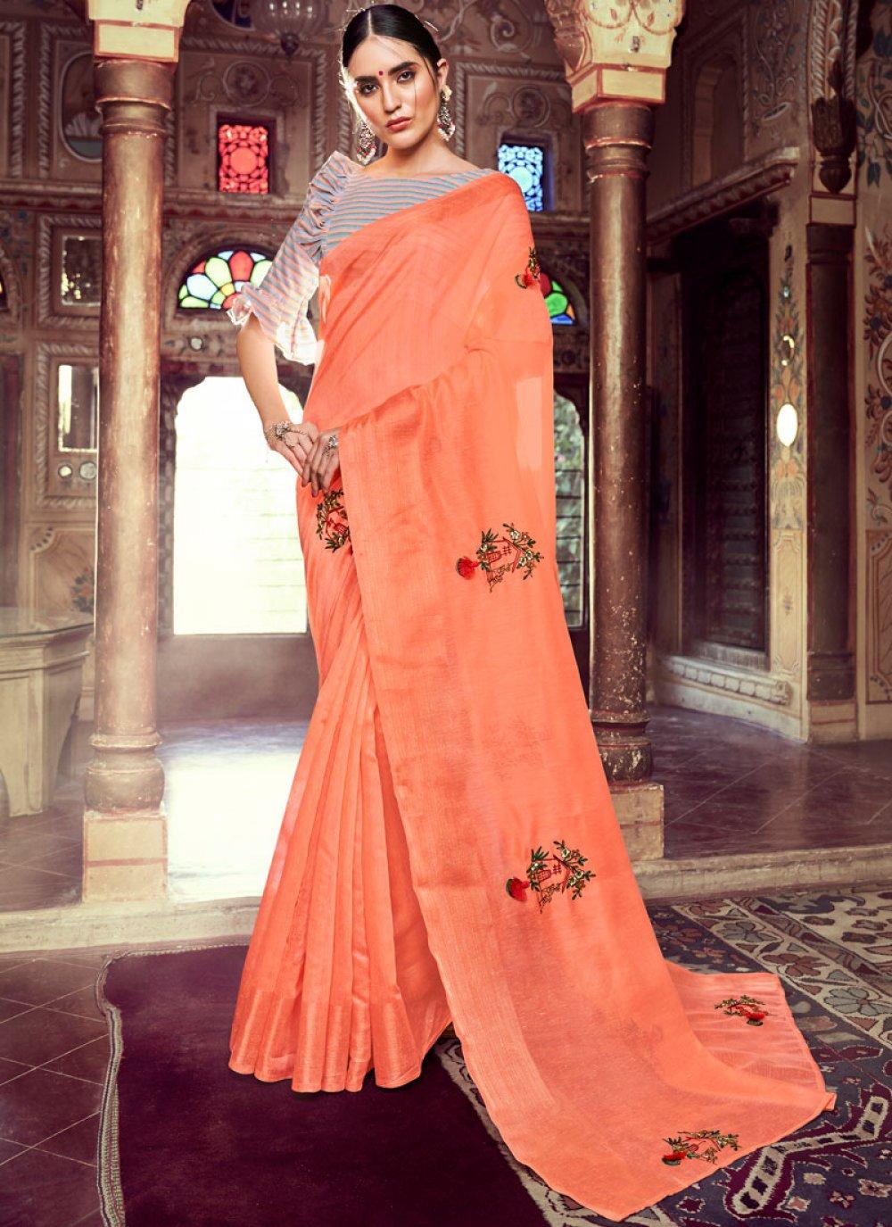 Linen Resham Peach Casual Saree