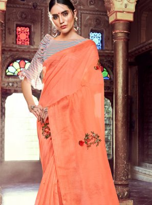 Linen Resham Peach Casual Saree