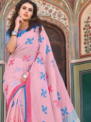 Linen Rose Pink Designer Saree