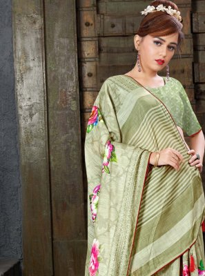Linen Sea Green Designer Saree
