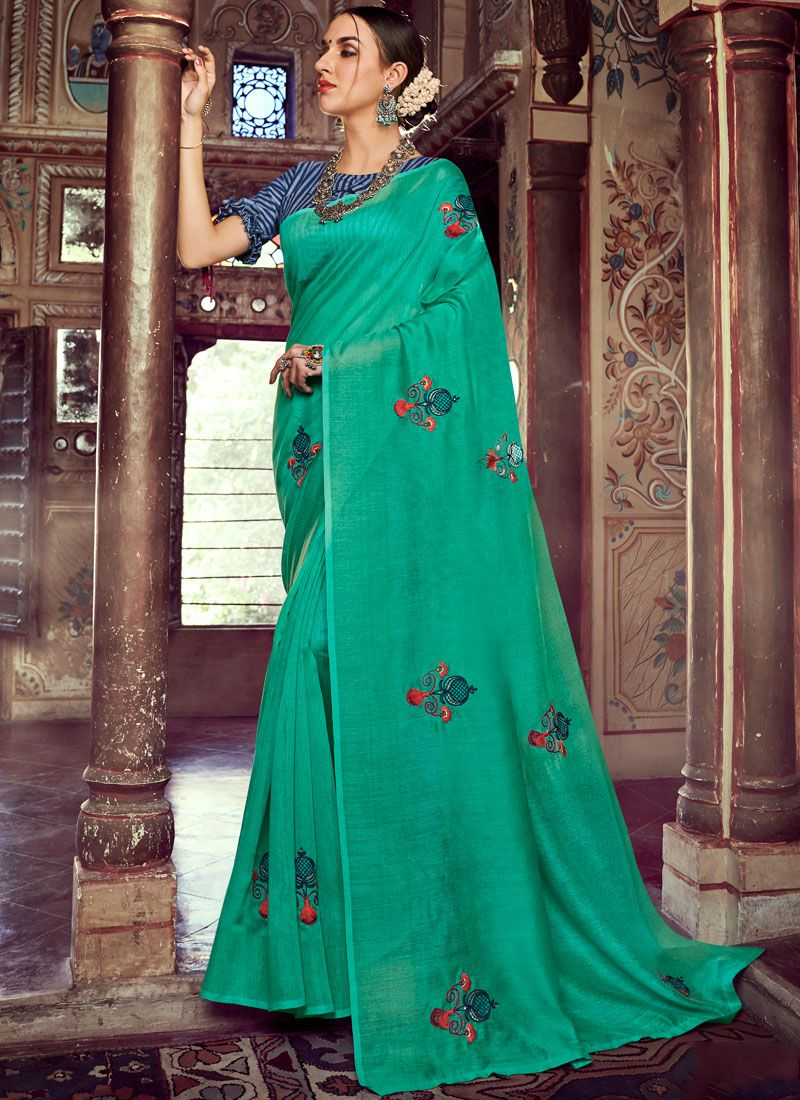 Linen Sea Green Embroidered Casual Saree