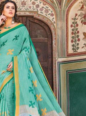 Linen Thread Work Designer Saree in Sea Green