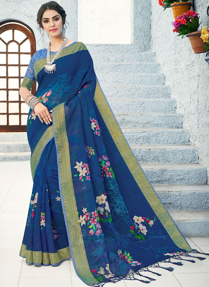 Linen Traditional Saree in Blue