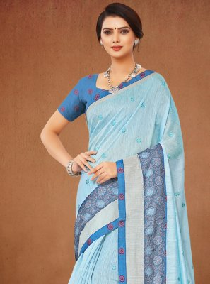 Linen Turquoise Casual Saree