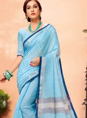 Linen Woven Casual Saree in Aqua Blue