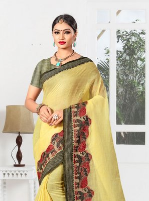 Linen Yellow Casual Saree