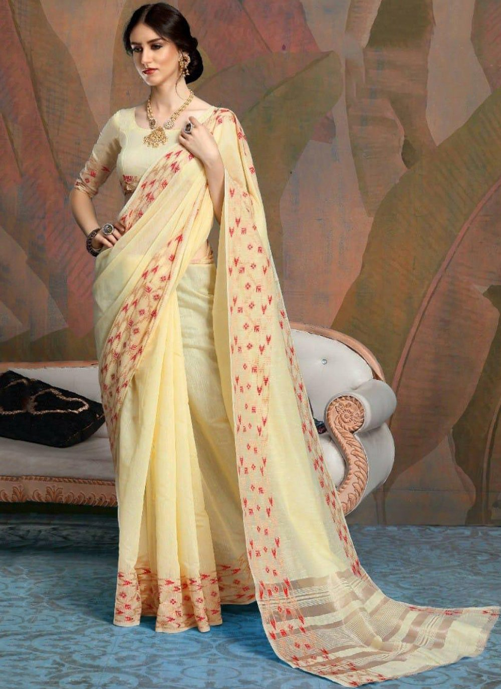 Linen Yellow Woven Classic Saree