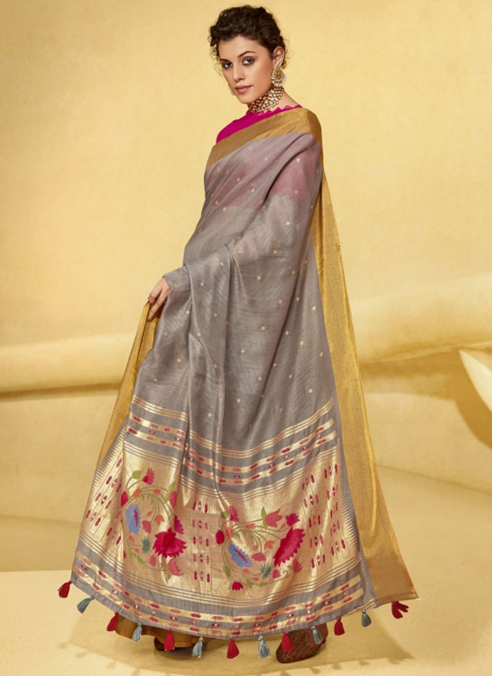 Linen Zari Saree