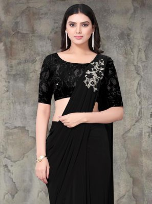 Lycra Black Embroidered Classic Saree