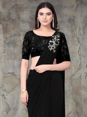 Lycra Black Embroidered Classic Saree