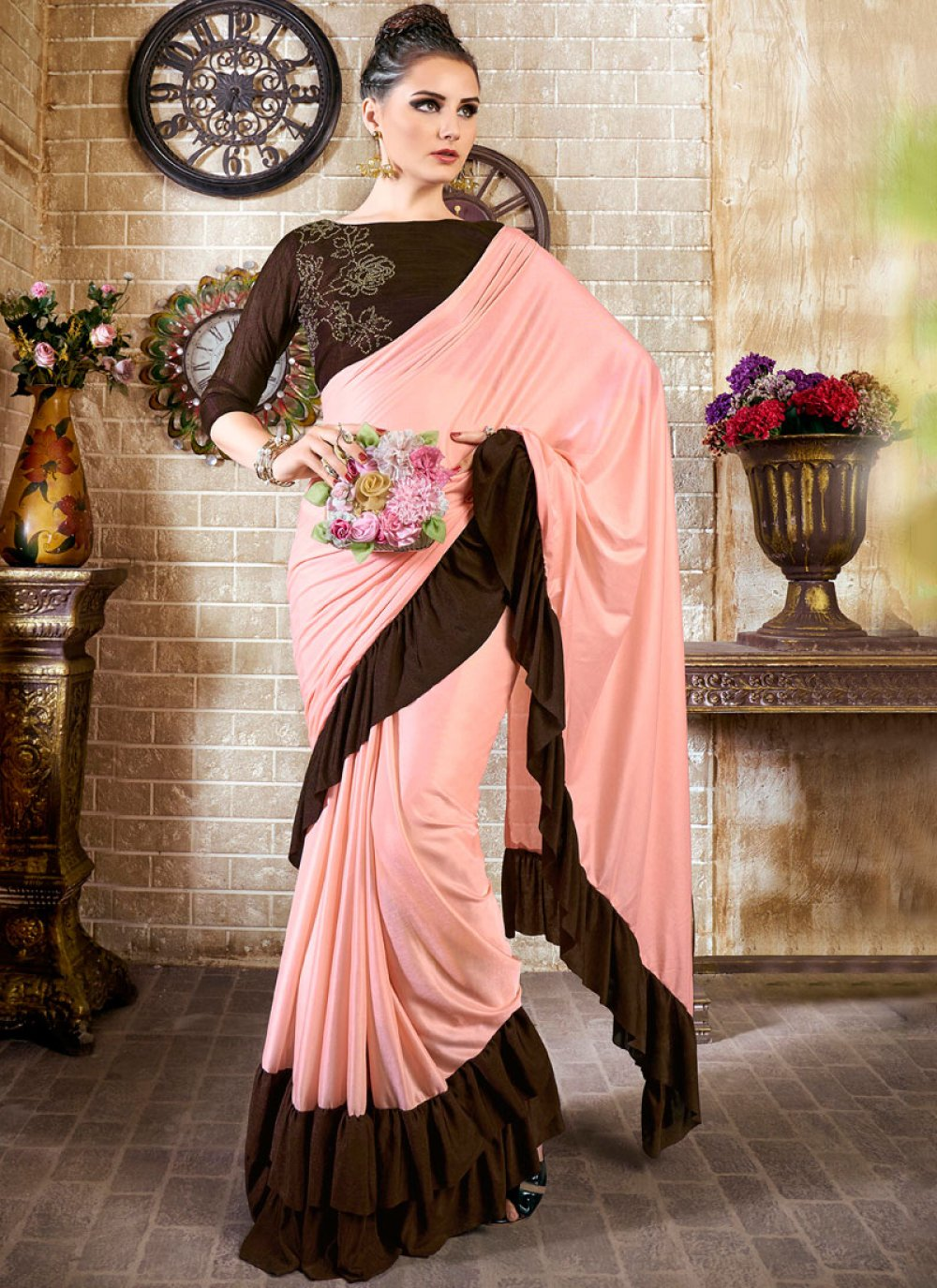 Lycra Brown and Pink Casual Saree