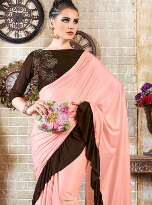 Lycra Brown and Pink Casual Saree