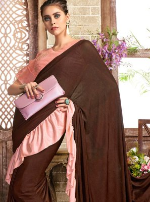Lycra Brown and Pink Plain Casual Saree