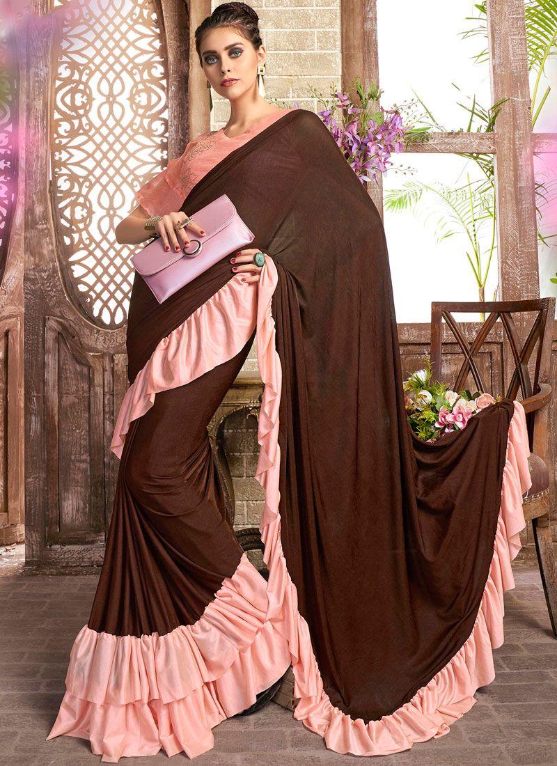 Lycra Brown and Pink Plain Casual Saree