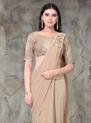 Lycra Brown Embroidered Designer Saree