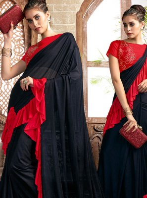 Lycra Casual Saree in Black and Red