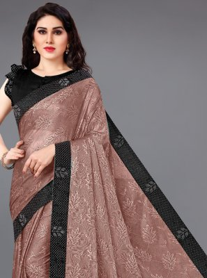 Lycra Classic Saree in Brown