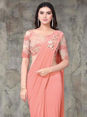 Lycra Embroidered Classic Saree in Peach