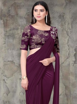 Lycra Embroidered Contemporary Saree in Maroon