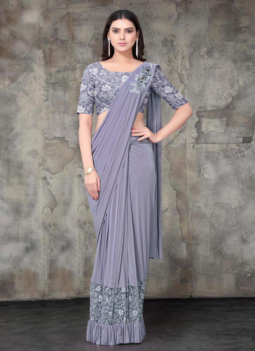 Lycra Embroidered Designer Saree