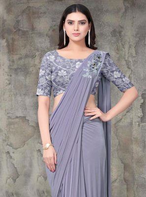 Lycra Embroidered Designer Saree