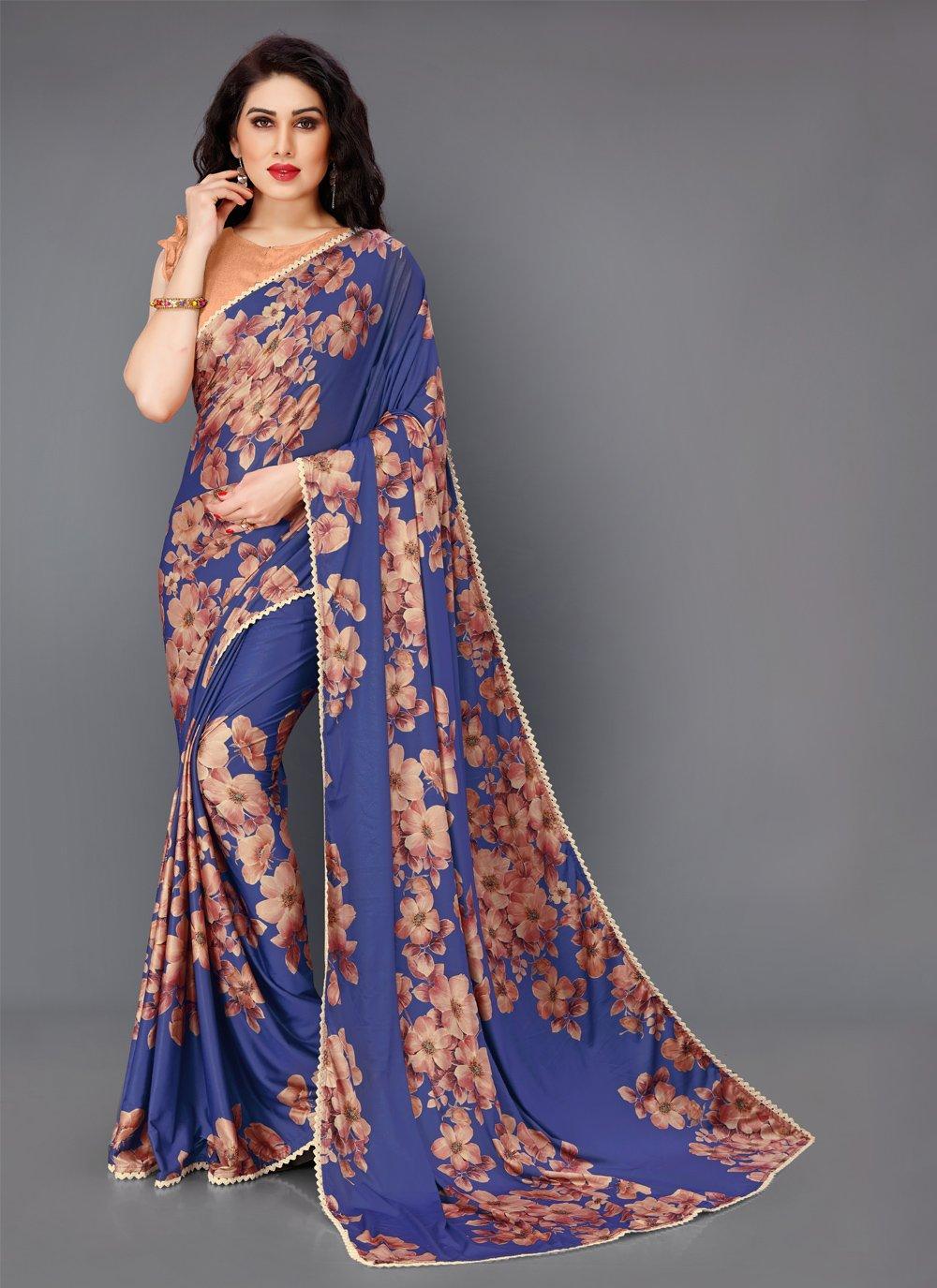 Lycra Floral Print Trendy Saree
