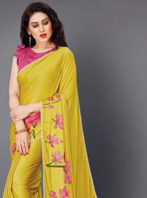 Lycra Floral Print Yellow Trendy Saree