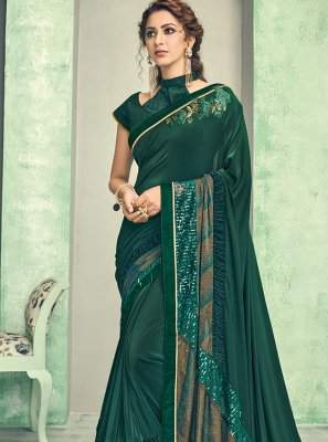Lycra Green Traditional Saree