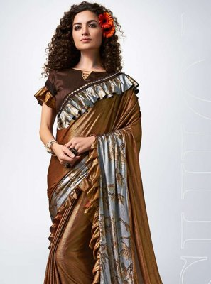 Lycra Lace Designer Traditional Saree in Brown