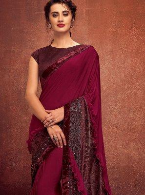 Lycra Maroon Designer Saree